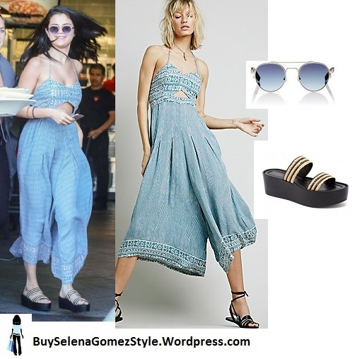 Selena Gomez blue jumpsuit striped sandals instagram