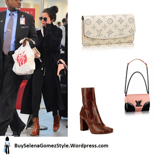 Selena gomez brown snakeskin boots black coat pink bag airport instagram