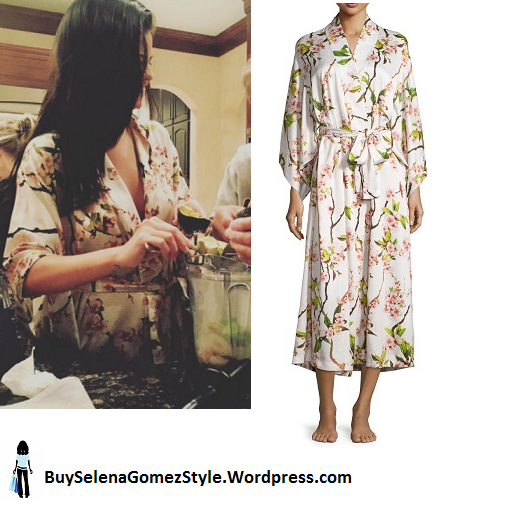 Selena Gomez pink blossom robe kitchen blender instagram