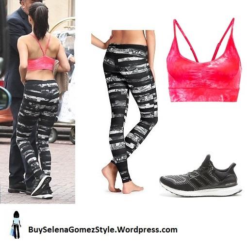 Selena Gomez pink bralet black and white leggings black trainers instagram