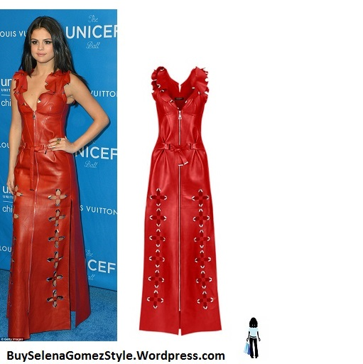Selena Gomez red leather dress UNICEF Ball 2016 instagram