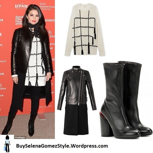 Selena gomez white and black sweater black leather coat black boots Sundance 2016 instagram