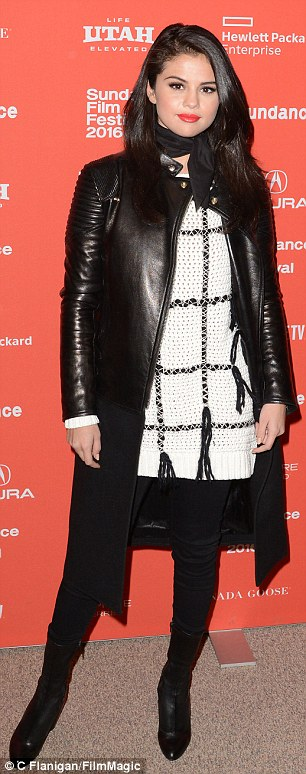 Selena gomez white and black sweater black leather coat black boots Sundance 2016 photo C Flanigan FilmMagic
