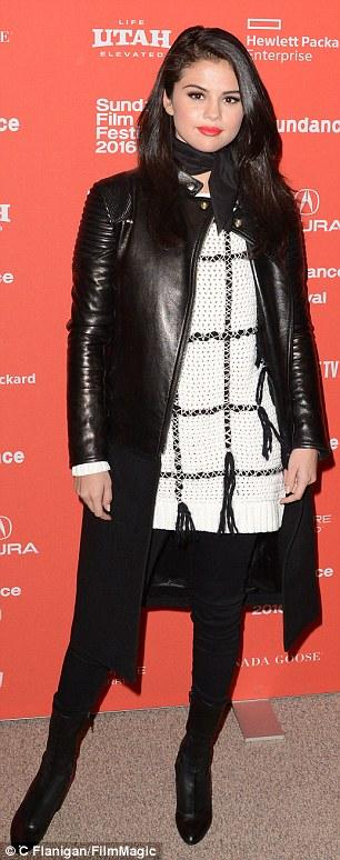 Selena gomez white and black sweater black leather coat black boots Sundance 2016 photo C Flanigan FilmMagic