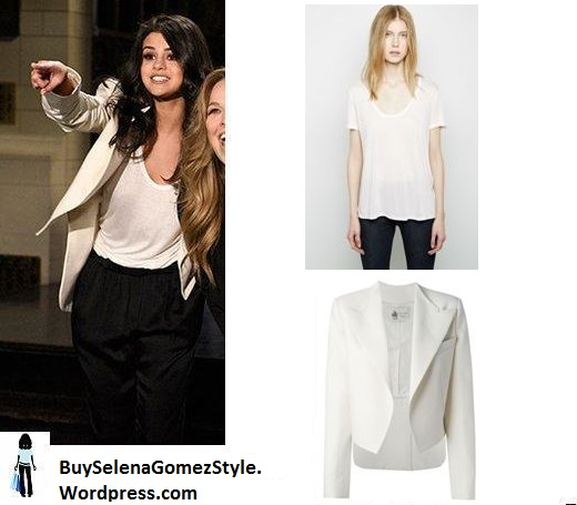 selena-gomez-white jacket and t-shirt Saturday Night Live 2016 instagram