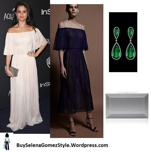 Selena Gomez white off the shoulder dress Golden Globes 2016 instagram