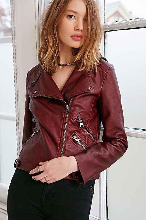 Silence + Noise Vegan Leather Fleece Moto Jacket