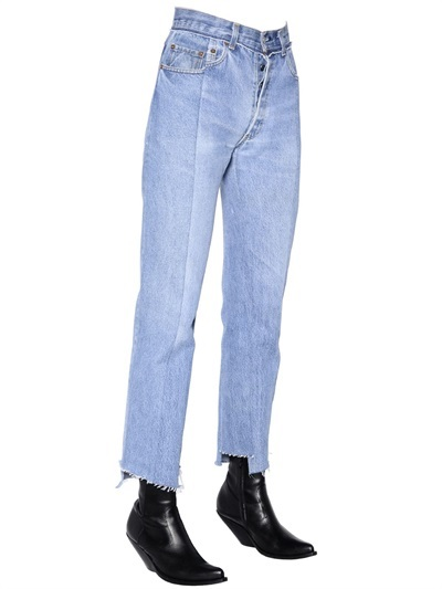 Vetements Cropped Washed Cotton Denim Jeans