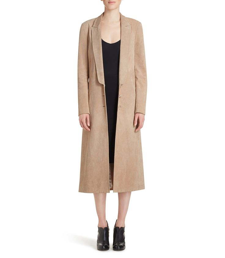Wes Gordon Italian Suede Trench Coat
