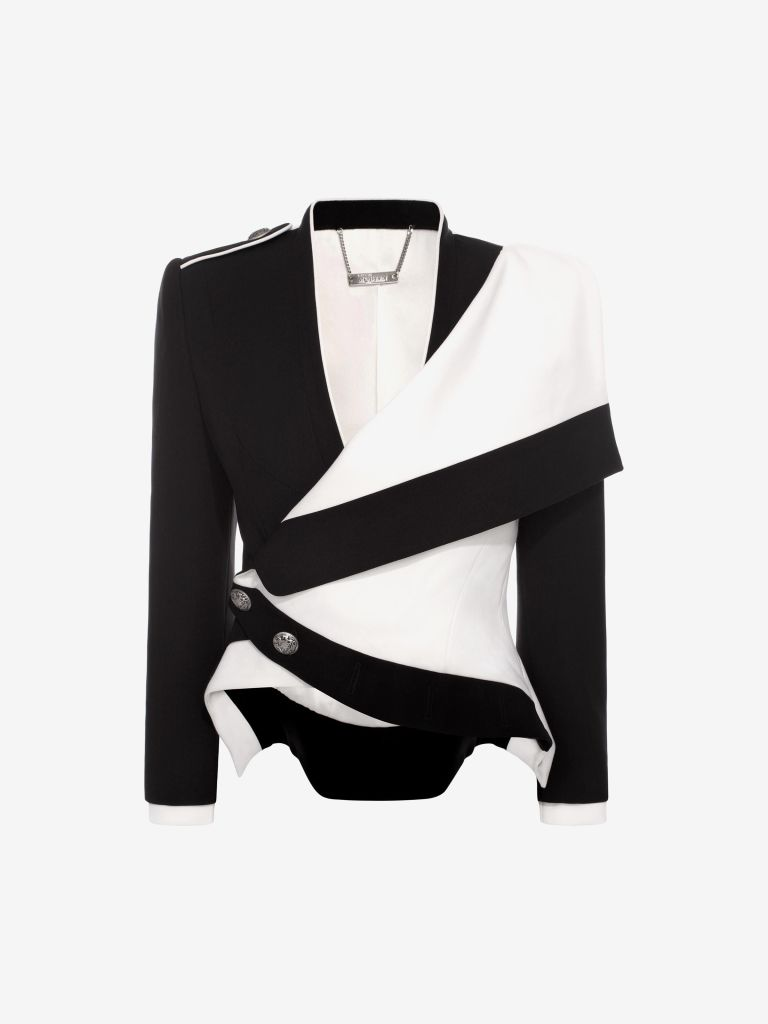 Alexander Mcqueen black and white military jacket