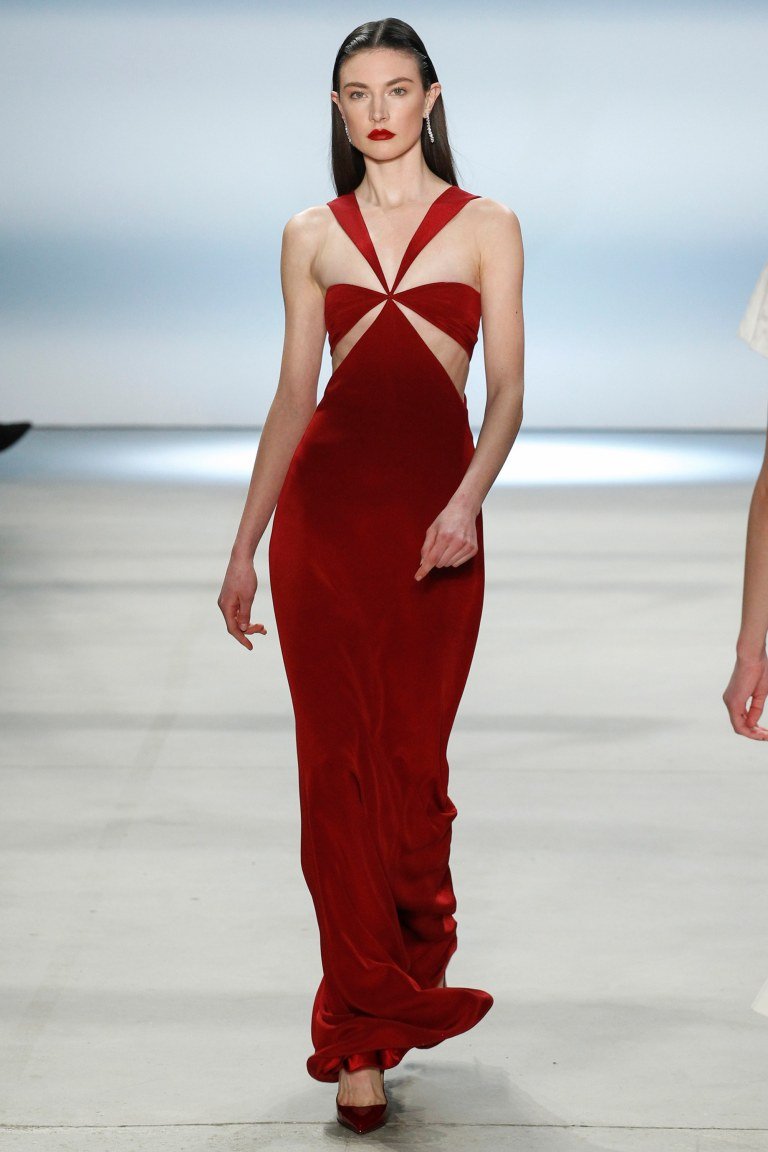 Cushnie et Ochs Fall 2016 red cut out dress photo Marcus Tondo