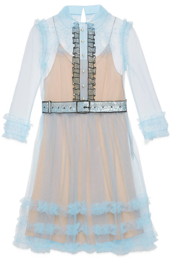 Gucci Tulle Organdy Embroidered Dress