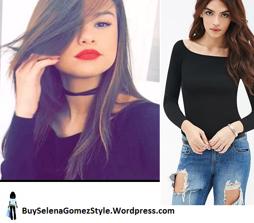 Selena Gomez black boat neck top photo snapchat instagram