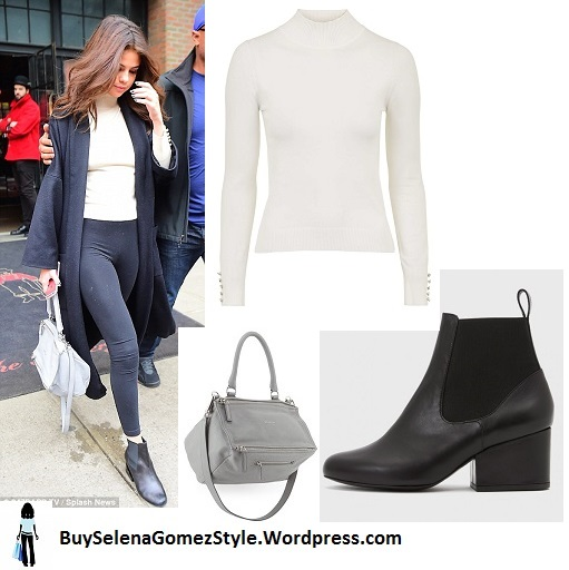 Selena Gomez black coat and leggings white turtleneck NY instagram