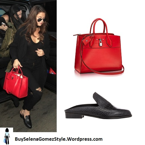 Selena gomez black ripped jeans red bag black slip on shoes LAX instagram