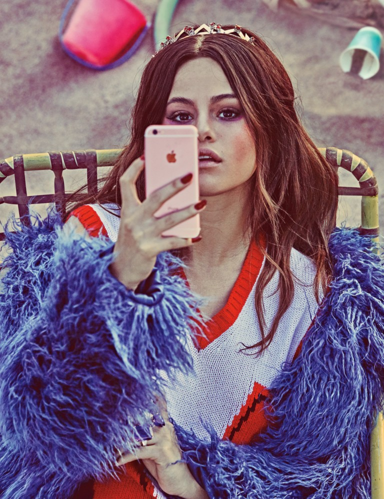 selena-gomez-blue fur jacket red and white sweater photow-magazine-steven-klein-2316-2