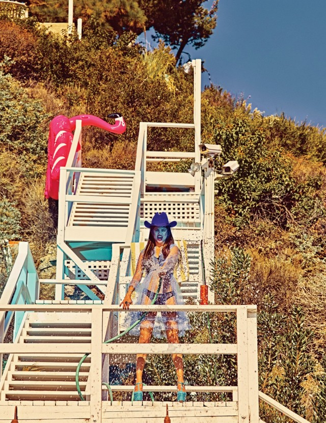 Selena Gomez blue hat chiffon top bikini Photo Steven Klein for W magazine