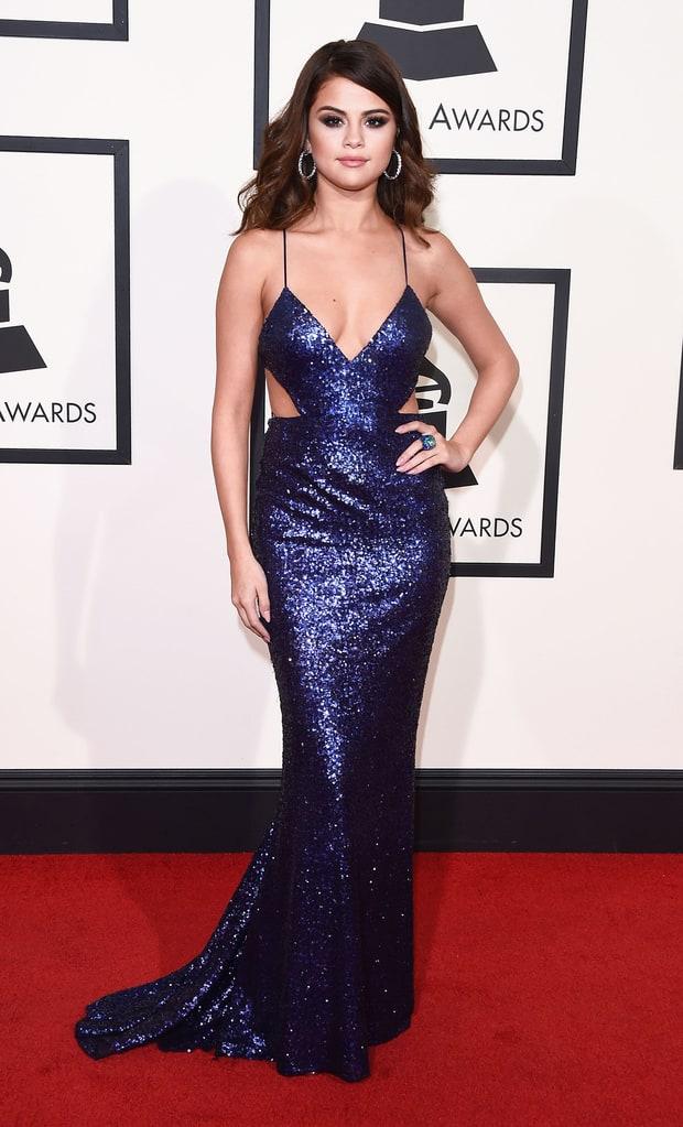 selena-gomez-blue sequin gown Grammys 2016
