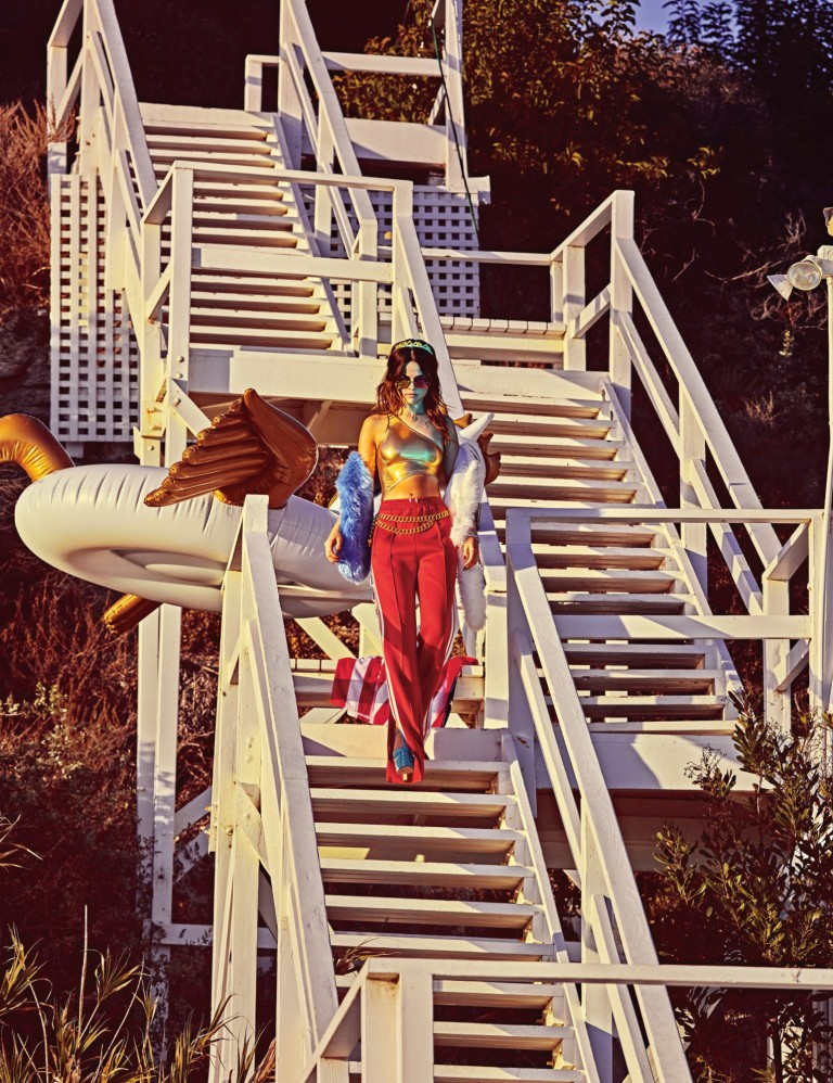 selena-gomez-gold top red trousers photo w-magazine-steven-klein-2316-3