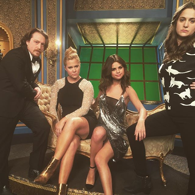 Selena Gomez silver and black dress inside amy schumer