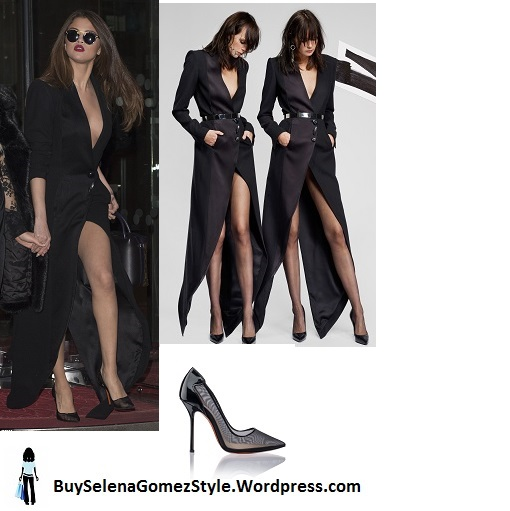 Selena Gomez black low cut split coat dress mesh shoes Paris 2016 instagram