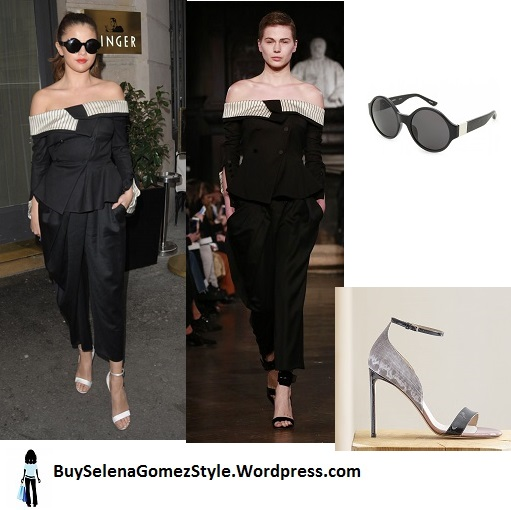 Selena-Gomez-black off the shoulder top and trousers white sandals PAris 2016 instagram