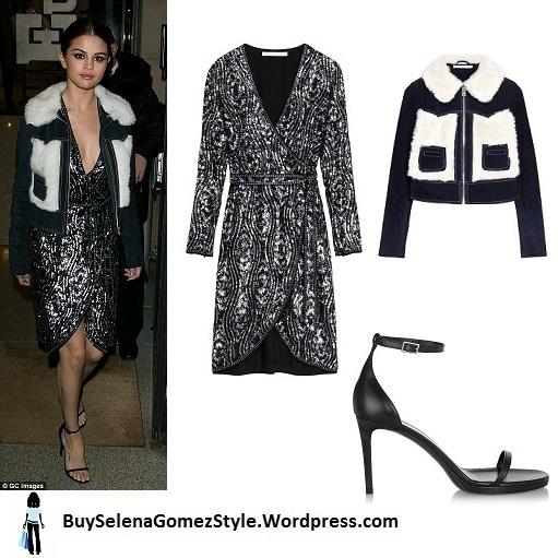 Selena Gomez black sequin dress denim and fur jacket black sandals Paris 2016 instagram