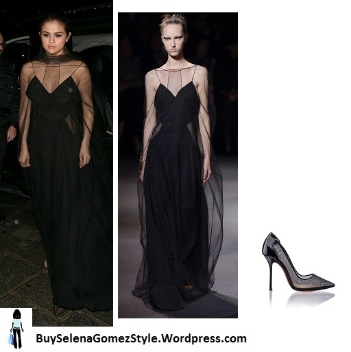 Selena Gomez black sheer tulle gown Paris 2016 instagram