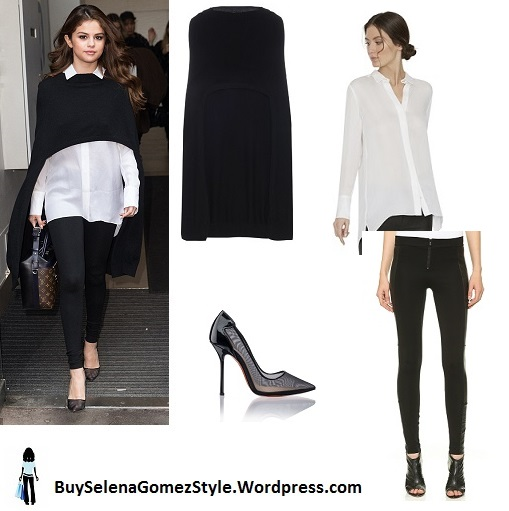 Selena Gomez black throw white shirt black trousers London 2016 instagram