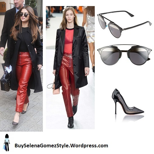 Selena Gomez black top black coat red leather pants black pumps Paris 2016 instagram