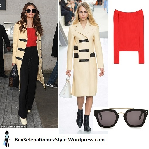 Selena Gomez cream coat red top black trousers cream shoes London 2016 Instagram