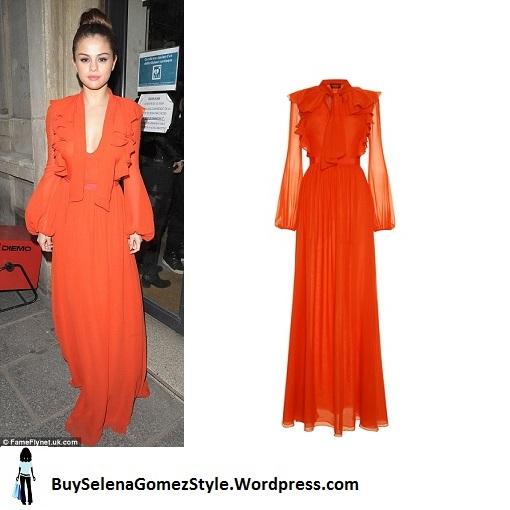 Selena Gomez orange gown PAris 2016 instagram