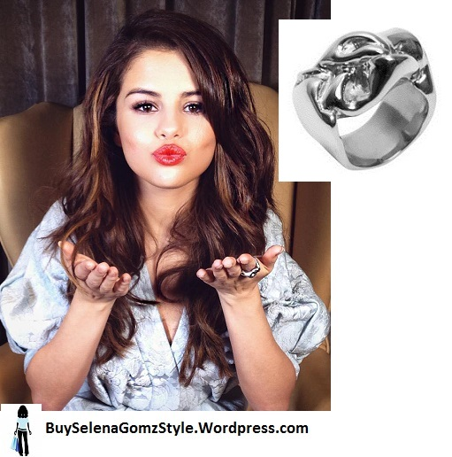 Selena gomez silver jacquard dress silver ring instagram