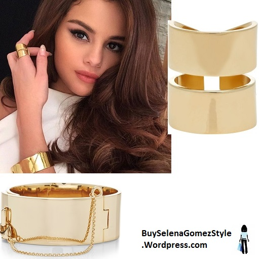 Selena Gomez white top gold ring and bracelet instagram