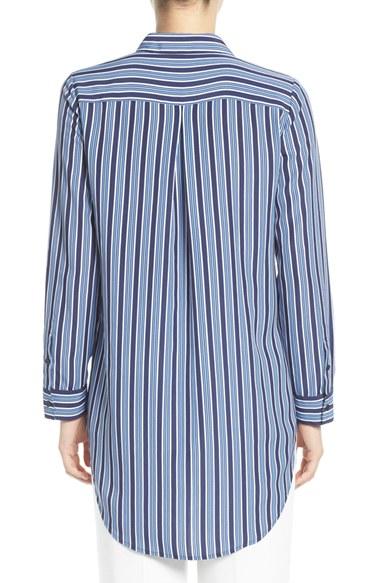 Trouvé Stripe Button Front Tunic Shirt back view
