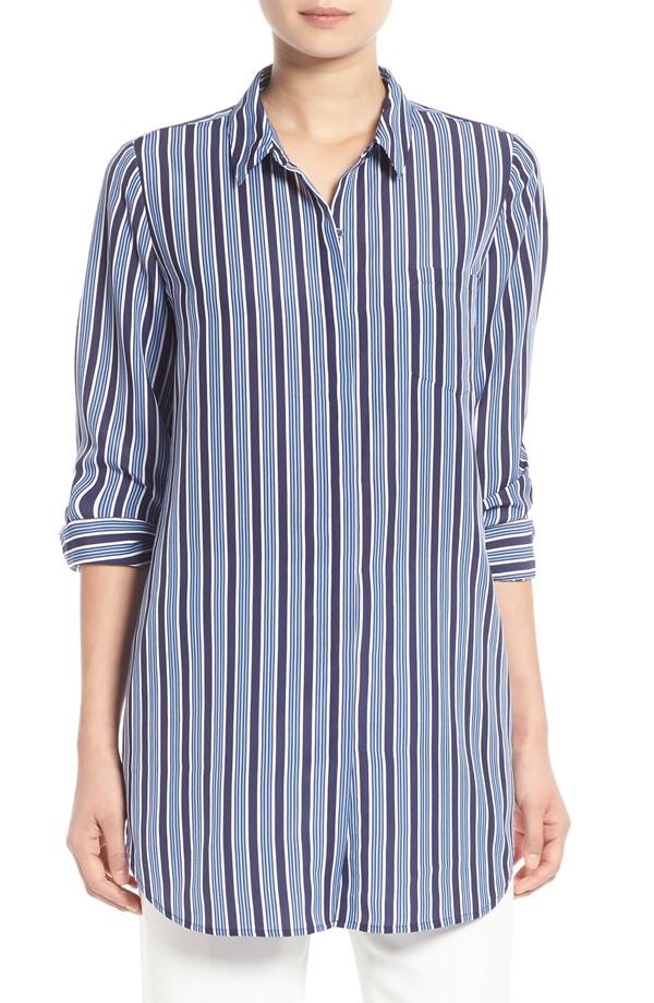 Trouvé Stripe Button Front Tunic Shirt