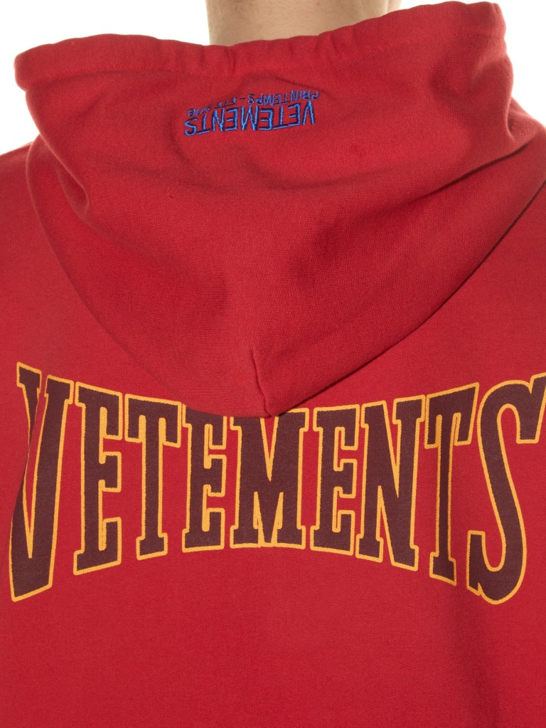 Vetements Hooded Logo Print Sweatshirt back view