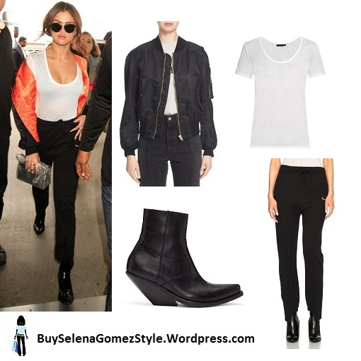 Selena Gomez black and orange bomber jacket white tshirt black pants black boots LAX April 2016 instagram