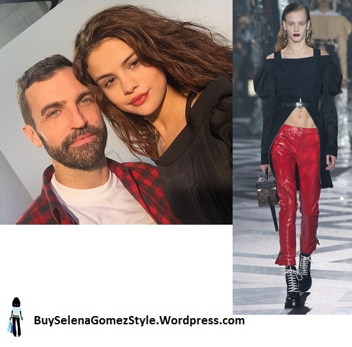 Selena Gomez black off the shoulder top  with Nicolas Ghesquiere photo instagram cropped