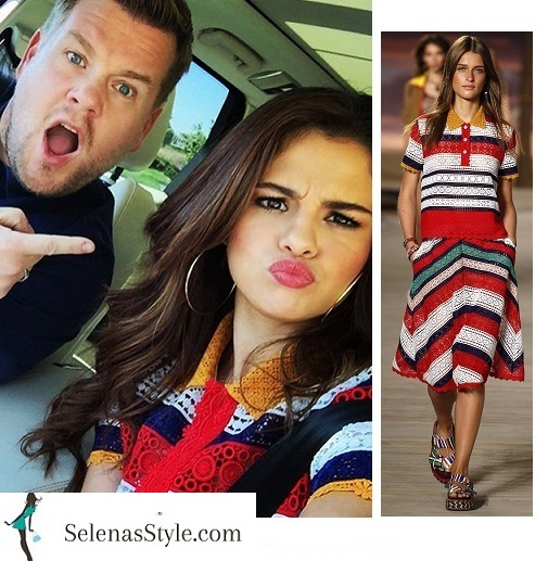 Selena Gomez blue red and white striped lace shirt photo Instagram 2