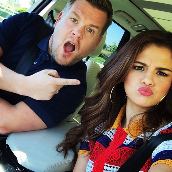Selena Gomez blue red and white striped lace top photo Instagram James Corden