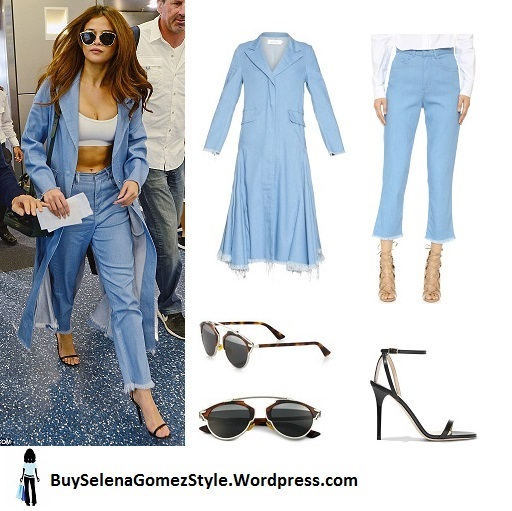Selena Gomez denim coat jeans black strappy sandals Miami airport 2016 instagram