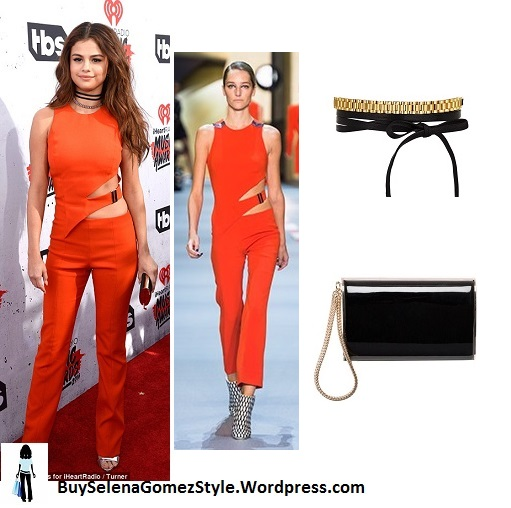Selena Gomez red top and trousers iHeart Radio Music Awards 2016 instagram