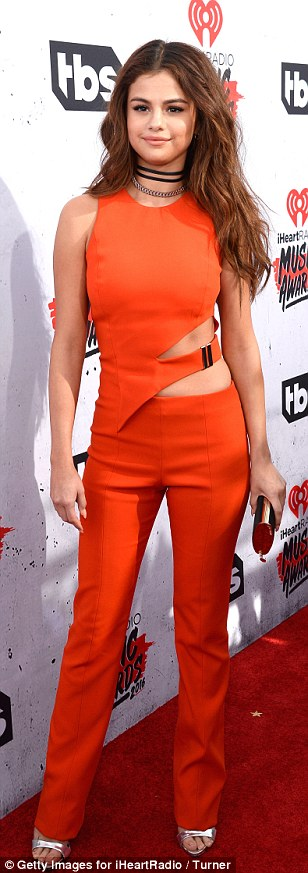 Selena Gomez red top and trousers iHeart Radio Music Awards 2016 photo Getty Images for iHeartRadio Turner