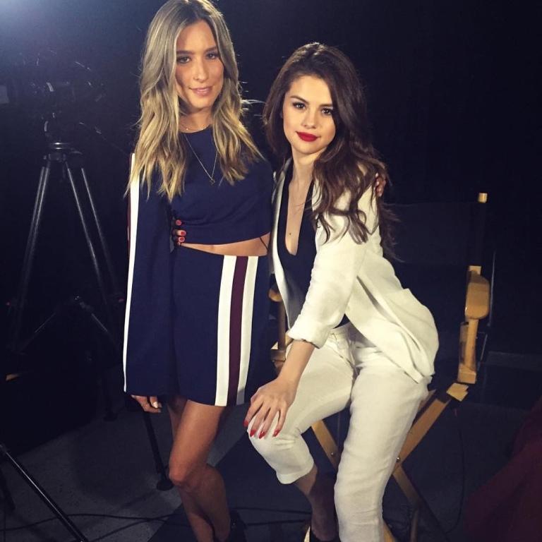 Selena Gomez white suit Extra TV style clothes fashion