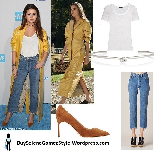 Selena Gomez yellow raincoat whie top jeans brown suede pumps WE Day 2016 instagram