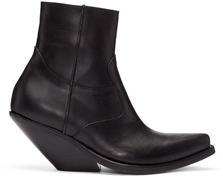 Vetements Black Leather Chunky Cowboy Boots