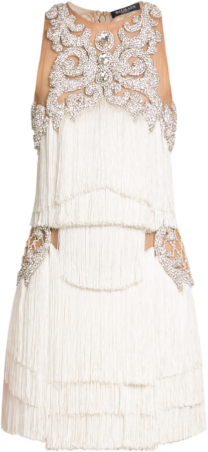 Balmain dress with fringing and crystal embellishment
