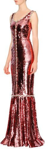 DOLCE & GABBANA SLEEVELESS PAILLETTES MERMAID GOWN, ROSE GOLD