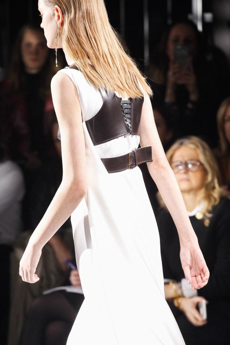 Louis Vuiton Fall 2016 white dress black corset back view